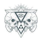 Hipster Abstrait Art de crânes — Vecteur