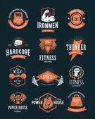 Ретро фитнес эмблемы — Cтоковый вектор