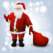 Santa Claus with red sack over white — Vector de stock