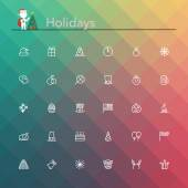 Holidays Line Icons — Stock Vector