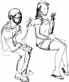 Sketch of a guy and a girl eating ice cream  — Stockvektor