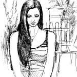 sketch of girl walking garden  — Stock Vector #54438501