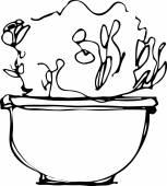 Odada bir saksı çiçek kroki — Stok Vektör