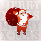 Santa Claus in sunglasses with big bag — Stock Vector