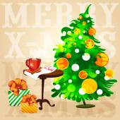 Christmas tree coffee on the table and gifts in boxes — Stock Vector