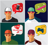 Men in baseball cap with thought bubbles — Stock Vector