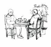 Schizzo di due amici in un bar ad un tavolo a bere tè e caffè — Vettoriale Stock