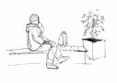Man talking on the phone and sitting on the bench — Stock vektor