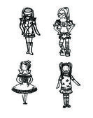 Girl in various costumes — Vector de stock