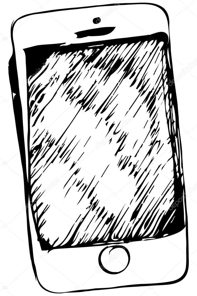 dibujo de tel u00e9fono m u00f3vil de pantalla t u00e1ctil  u2014 archivo