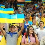Ukrainian football team supporters — Stock Photo #60856765