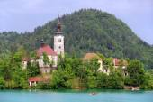 Assumption of Mary Pilgrimage Church on Bled lake — Stock Photo