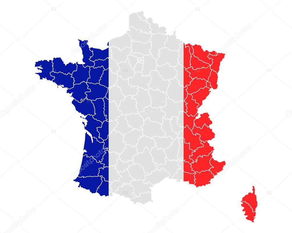 地图和法国国旗 — 图库矢量图像08