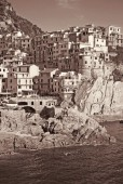 Italy. Cinque Terre. Manarola village. In Sepia toned. Retro sty — Stock Photo