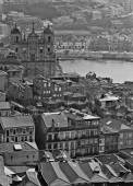 Portugal. Porto. Aerial view over the city. In black and white — Stock Photo