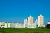 Residential neighborhood on the outskirts of Minsk — Stock Photo