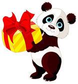 Panda  got gift — Stock Vector