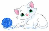 Kitten playing with a ball of yarn — Stock Vector
