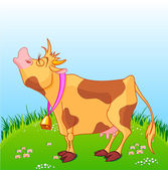 Cow moos on a sunny meadow. — Stock Vector