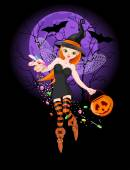 Illustration of trick or treating witch — Stock Vector