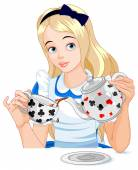 Alice pours a cup of tea from the kettle — Stock Vector