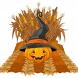 Halloween pumpkin on corn maze — Stock Vector #53649785