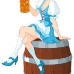 German girl sits on the keg and holds mug — Stock Vector #53649795