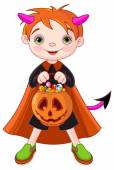 Halloween costumed boy trick or treating — Stock Vector