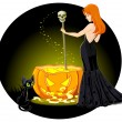 Witch mixes potion in cauldron — Stock Vector #56232041