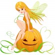Cute fairy sitting on pumpkin — Stock Vector #56232115