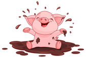 Piggy in a puddle — Stock Vector