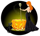 Witch mixes potion in cauldron — Wektor stockowy