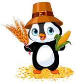 Penguin farmer holds corn and wheat — Stock Vector