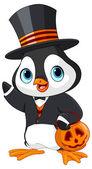 Halloween penguin with basket — Stock Vector