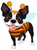 Boston terrier dressed-up like bee — Stock Vector