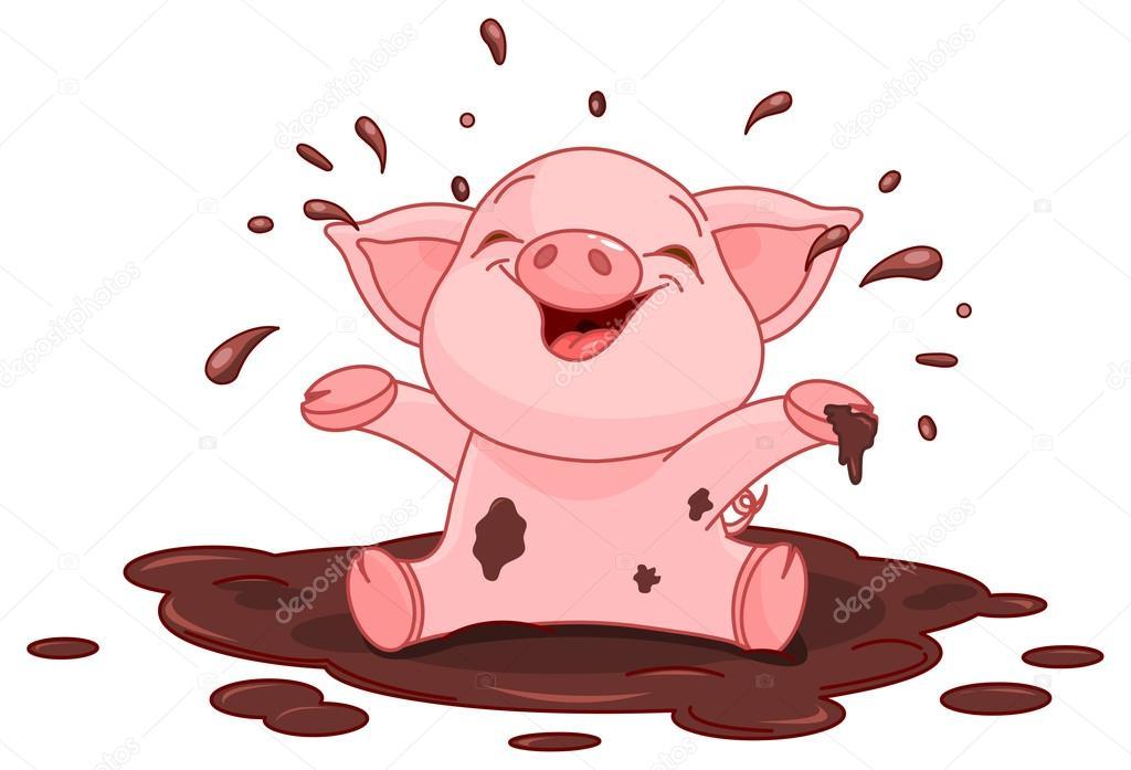 porquinho em uma po u00e7a vetor de stock  u00a9 dazdraperma 56232035 cute pig clipart black and white cute pig clip art free