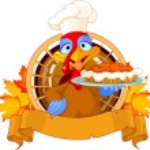 Thanksgiving turkey serving pumpkin pie — Stock Vector #58582951
