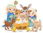 Christmas nativity scene with holy family — Stock Vector