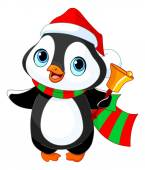 Christmas penguin with jingle bell — Stock Vector