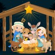 Christmas nativity scene with holy family — Stock Vector #60032241
