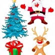 Santa Claus, Reindeer, gift and Christmas tree — Stock Vector #60327005