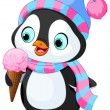 Penguin with hat and scarf eats ice cream — Stock Vector #60327009