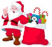 Santa Claus giving thumb up — Stock Vector