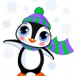 Cute winter penguin with hat and scarf — Stock Vector #60610823