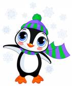Cute winter penguin with hat and scarf — Stock Vector