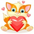Cartoon fox holding Valentine heart — Stock Vector #60910133