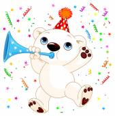 Cute polar bear celebrating — Vector de stock