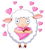 Cute sheep holds a heart — Stock Vector