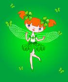 Green Irish fairy — Stock Vector
