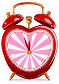 Vintage alarm clock in heart shape — Stock Vector